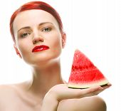 Beautiful young woman with  water melon