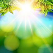 Bright shining sun with lens flare. Abstract spring background w