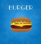 Food Menu Burger With Blue Background