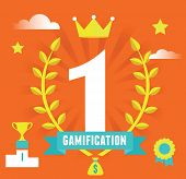 Vector Concept Of Gamification Concept And Business. Achievement And Improvement