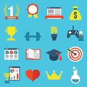 Vector Set Of Gamification Icons For Design
