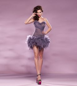 stock photo of tight dress  - Fashion Dressed Sexy Girl - JPG