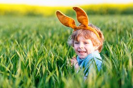 stock photo of bunny costume  - Cute little kid boy with Easter bunny ears in green grass on Easter holiday - JPG