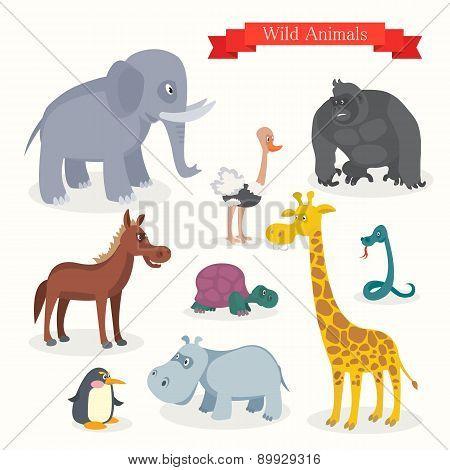 Постер, плакат: Animal cartoons safari wild nature, холст на подрамнике