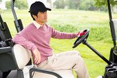 stock photo of buggy  - Golfer driving his golf buggy at the golf course - JPG