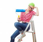 picture of sleepy  - Sleepy woman with paint roller isolated on white - JPG