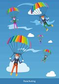 image of descending  - Happy peoples plans with parachute - JPG