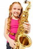 picture of saxophones  - Portrait of happy girl playing alto saxophone on the white background - JPG