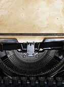 stock photo of old vintage typewriter  - vintage typewriter with paper - JPG