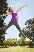 pic of leaping  - Fit woman leaping in the park on a sunny day - JPG