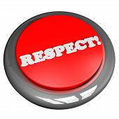 stock photo of respect  - Respect button isolated over white 3d render square image - JPG