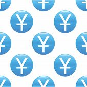 image of yen  - Vector round sign with yen symbol repeated on white background - JPG