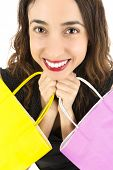 stock photo of excite  - Close up of a woman excited and happy shopping woman with her shopping bags - JPG