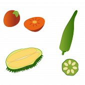 foto of okras  - Durian persimmon and okra isolated on white background - JPG