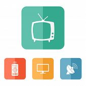 picture of household  - Vector household tv related icons on colored buttons - JPG