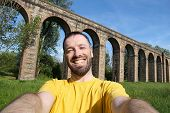 image of aqueduct  - Tourist selfie in Italy  - JPG