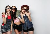 image of three sisters  - Three stylish sexy hipster girls best friends - JPG