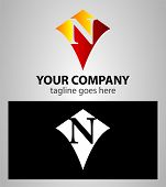 picture of letter n  - Abstract logo icon design template elements with letter N - JPG