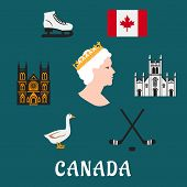 stock photo of canada goose  - Canada travel flat icons and symbols depicting the Queen - JPG
