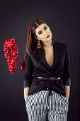stock photo of v-day  - Woman in smart casual fashion look - JPG