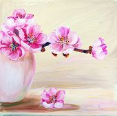 stock photo of vase flowers  - Sakura flowers in vase - JPG