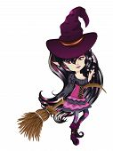 picture of broom  - Cute cartoon witch with broom in anime manga style - JPG