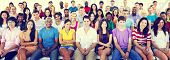 stock photo of crowd  - Group People Crowd Audience Casual Multicolored Sitting Concept - JPG