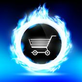 stock photo of trolley  - round button with a shopping trolley burns with a blue flame - JPG