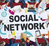 foto of social system  - Social Network Internet Online Society Connecting Social Media Concept - JPG