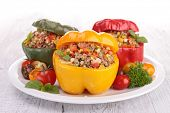 picture of pepper  - baked bell peppers stuffed with vegetable and meat - JPG