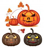 picture of scary face  - Vector Set of pumpkins for Halloween with scary faces - JPG
