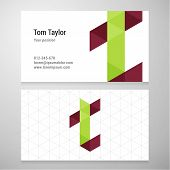 image of letter t  - Modern letter T origami Business card template - JPG