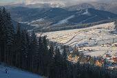 stock photo of lowlands  - mountain views in the ski resort - JPG