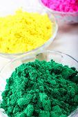 image of holi  - Colourful holi colors gulal in glass bowl - JPG