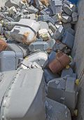 foto of landfills  - rusted old gas counters in waste landfill - JPG