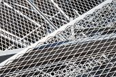 stock photo of metal grate  - grid iron and ferrous material in the landfill of metallic objects - JPG