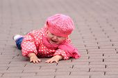 image of cry  - crying little girl fall off on sidewalk - JPG