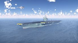 foto of fighter plane  - Computer generated 3D illustration with Aircraft Carrier and Fighter Plane - JPG