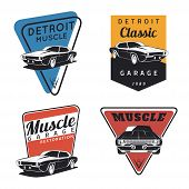 Постер, плакат: Classic muscle car emblems