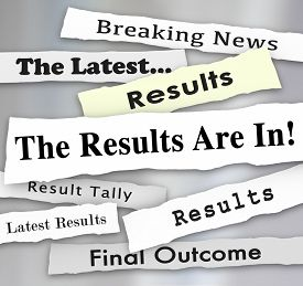 picture of election  - The Results are In words in newspaper headlines to illustrate voting or election survey or poll results reported by news outlets - JPG