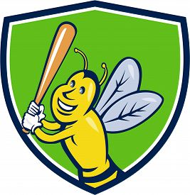 image of bat  - Cartoon style illustration of a killer bee baseball player smiling holding bat batting viewed from the front set inside shield crest on isolated background - JPG